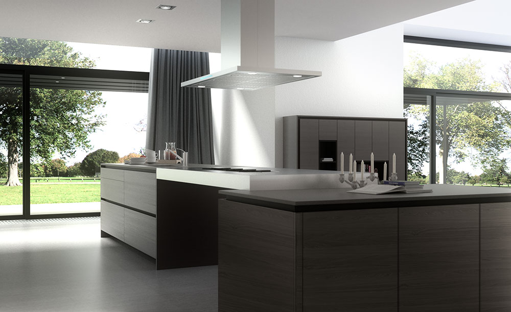 Render 3d de muebles de cocina de dise o estudibasic - Muebles recibidores de diseno ...