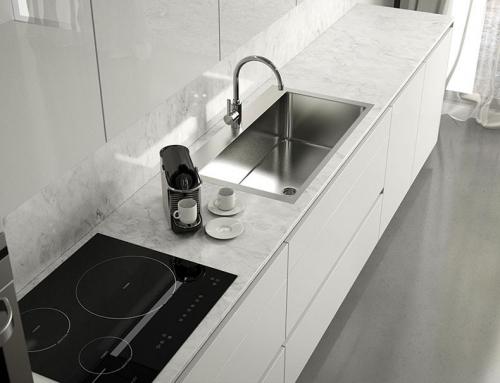 Render 3D de muebles de cocina de diseño