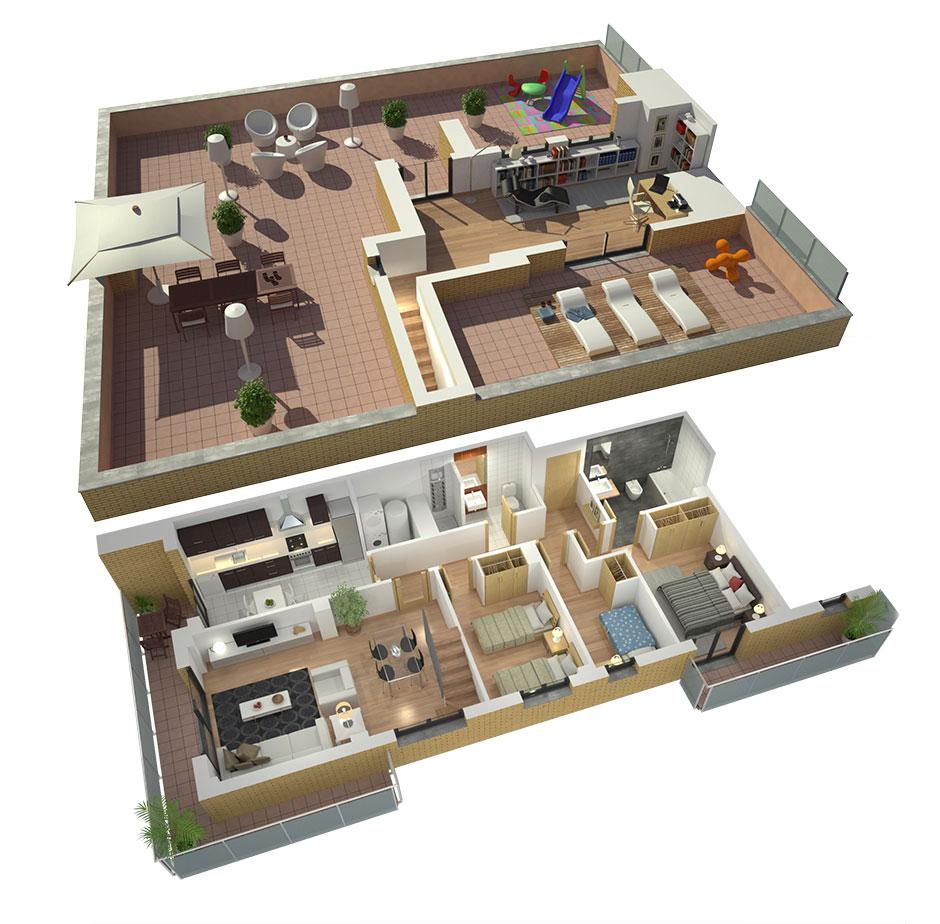 Planos de casas en 3d para venta inmobiliaria estudibasic - Planos de pisos de lujo ...