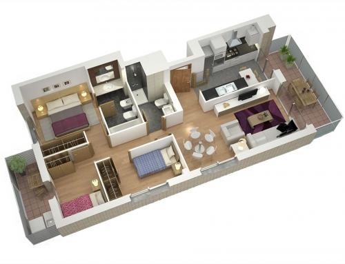 Planos de casas en 3D para venta inmobiliaria