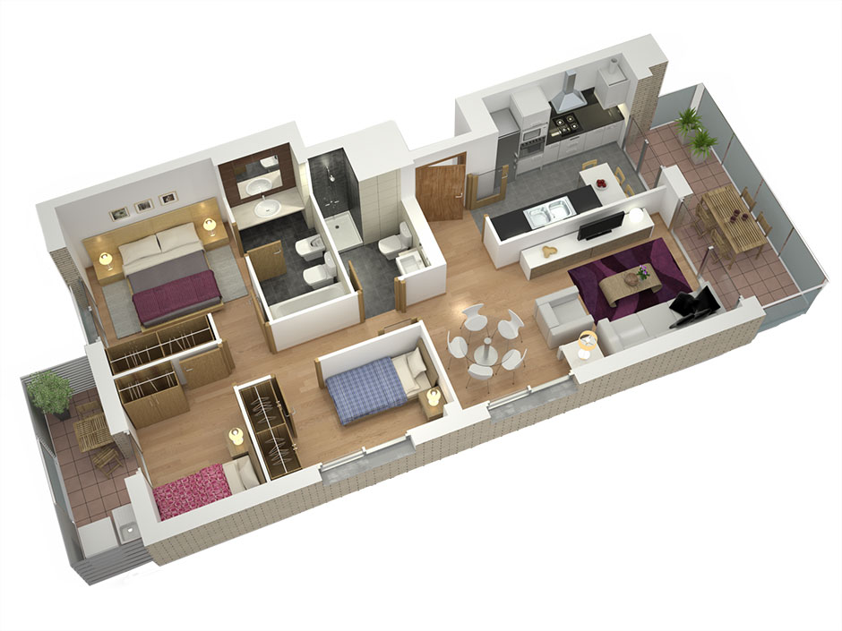 Planos de casas en 3d para venta inmobiliaria estudibasic - Crear casas 3d ...