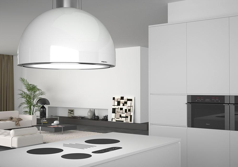 Renders 3D de campanas de cocina para catálogo