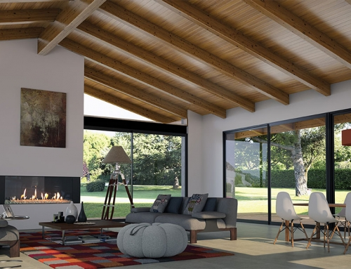 Renders 3D de techos de madera