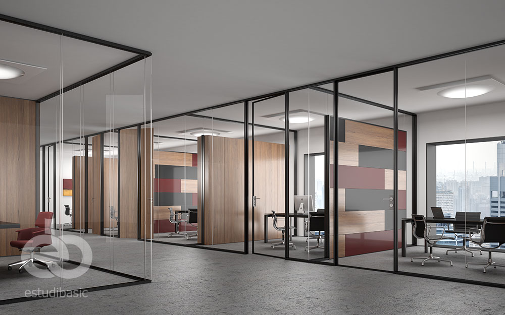 Renders y dise o de oficinas 3d para cat logo de mamparas for Disenos de interiores para oficinas