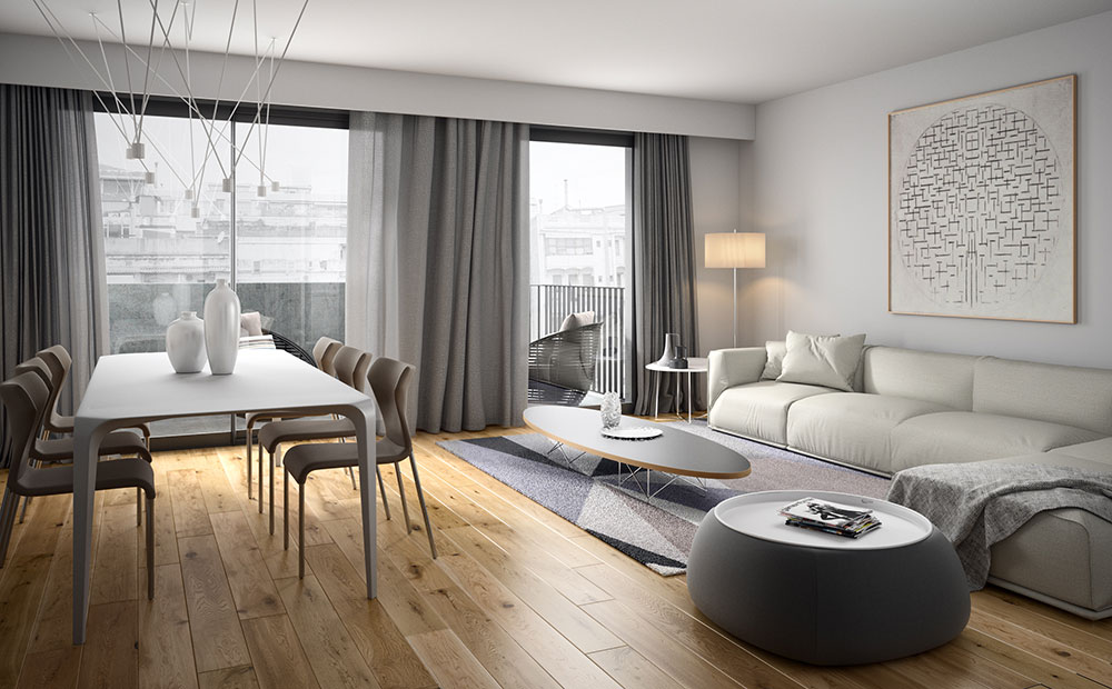 Renders de interiores 3D para venta inmobiliaria de pisos