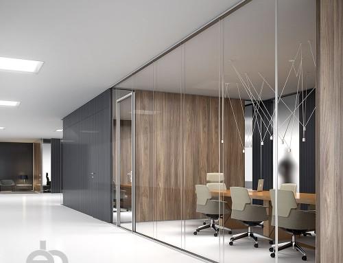 Renders y diseño de oficinas 3D para catálogo de mamparas divisorias