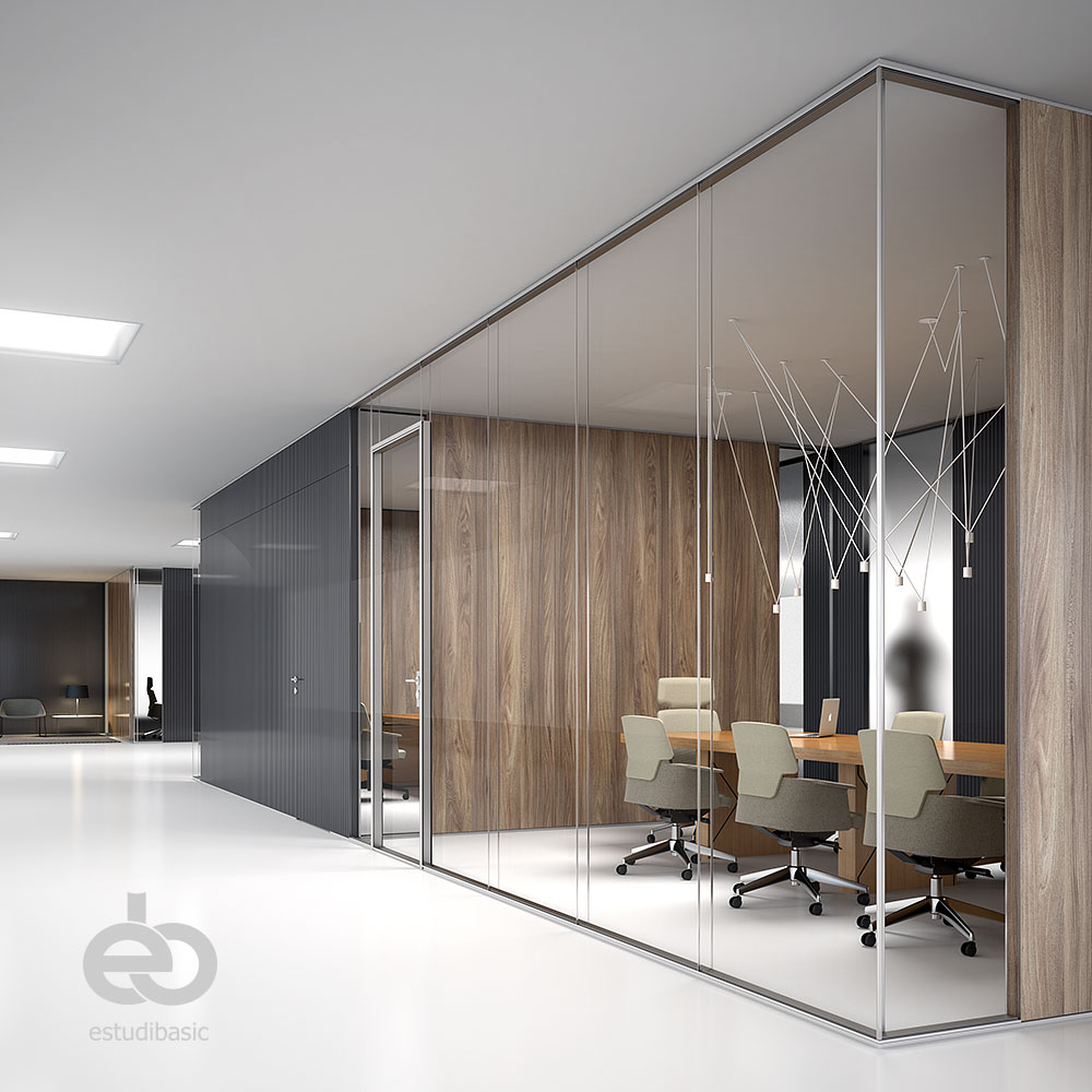 Renders y dise o de oficinas 3d para cat logo de mamparas for Mesas de oficina de diseno