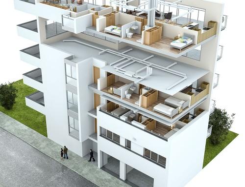 Vistas en 3D de sistemas de ventilación y climatización