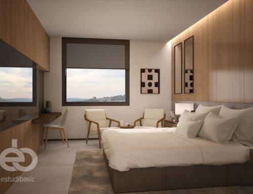 Infografía 3D interior de habitaciones de hotel
