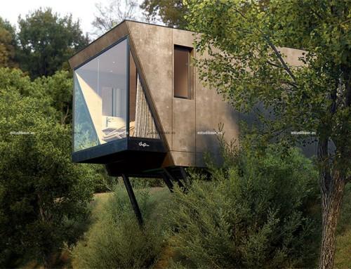 Render exterior de paisaje y arquitectura 3D